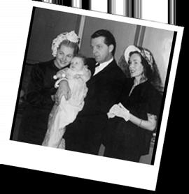 Joan, Bill and actress Maureen O'Sullivan at Deobrah's christening